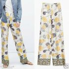 ZARA FLORAL PRINTED WIDE LEG PALAZZO LOOSE FIT PANTS TROUSERS MAXI HOSE SIZE S