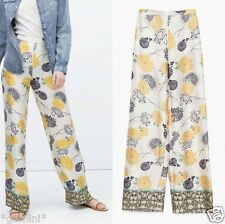 ZARA MAXI HOSE BLUMEN FLORAL PRINTED WIDE LEG PALAZZO LOOSE FIT PANTS TROUSERS S