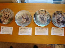 "Set Of 4 Dog Collector Plate Yorkshire ""Anticipation,little charmer, into woods"