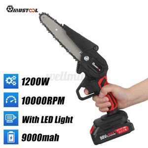 Mini Cordless Chainsaw Electric One-Hand Saw Woodworking Wood Cutter 1/2 Battery