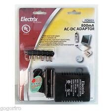 800mA Universal AC-DC Adapter 12V 9V 7.5V 6V 4.5V 3V