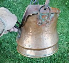 1880's COPPER FORGED Scuttle Bucket Hearth Carbon Steel Handles True Antique