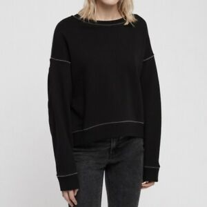 ALLSAINTS Chain Trim Black Sweatshirt XS