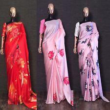 Floral Saree Sari Indian Japan satin silk Print Designer Saree Party Wear Saree