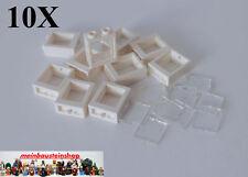 10X Lego® Fenster, Window, Weiß m. Scheibe transp., 1X2X2, 60592 / 60601 NEU