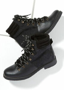 New Anthropologie Wool Trimmed Leather Ankle Boots Black Sz- EU 38 RRP £145.00