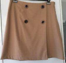 Wallis - faux wrap, lined skirt Camel UK16, EUR44 (new) European made