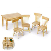 5pcs Miniature Dining Table Chair Wooden Furniture Set for 1:12 Dollhouse