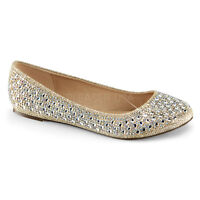 Gold Rhinestone Ballet Flats Comfortable Bridal Wedding After Prom Shoes 8 9 10