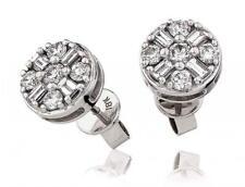 Diamond Earrings Baguette & Brilliant Cut 0.90ct F VS in 18ct White Gold