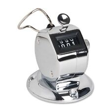 """Sparco Hand Tally Counter with Base, Digit Finger Ring Desktop Silver 24200"""