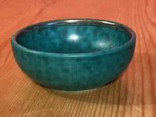 Gustavsberg Argenta Swedish Pottery Small 10cm Round Bowl Green Silver inlaid