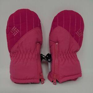 EUC Columbia Pink Winter Mittens Gloves Infant One Size Fleece Interior Zip