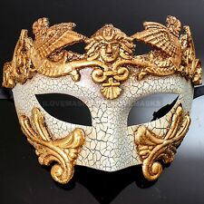Masquerade Mask Men Mardi Gras Venetian Party Half Face Roman White Gold Mask