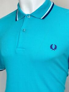 Fred Perry | Twin Tipped M1200 Pique Polo Shirt L|XL (Blue) Mod Scooter Skins