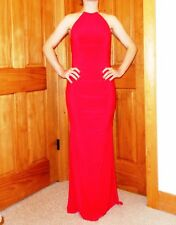 WOW $375 Elegant Cache Long V-Neck Red Dress Evening Gown Women's W Size 4 L@@K!