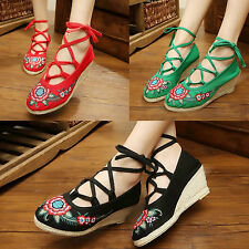 Women's Heels Wedges Embroidery Lace-up Sexy Red Black Green Floral Canvas Shoes