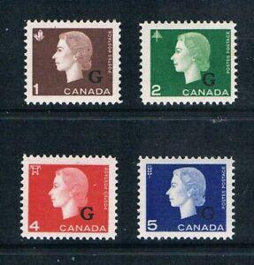 """Canada 1963 Officials 1¢-5¢ QEII Portraits -""""G's"""" -SC O46-49 [SG O202-05] MNH H3"""