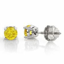 0.55CT Canary Yellow SI1-SI2 Diamond 18K White Gold Men's Single Stud Earring