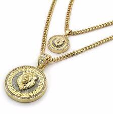 "Mens 14k Gold Plated Hip Hop Round Lion Cz Pendant 3mm 24"" & 3mm 30"" Cuban Chain"