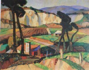 John Weeks, Landscape with farm Buildings.  Rare Large New Zealand Art.