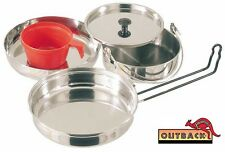Outback Stainless Steel 5 Piece Mess Kit Perfect for your Bush Cooking Needs