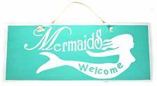 Hand Made Mermaids Welcome Sign Wall Tiki Bar Tropical Island Decor Nautical Sea