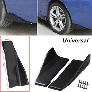 Car Bumper Spoiler Side Skirt Rocker Wings Rear Lip Universal 35cm Black ABS Kit