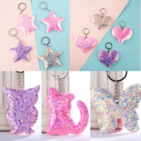 Women Men Jewelry Handbag Pendant Glitter Pig Keyring Sequins Keychain