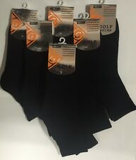 6 Pairs of Premium Quality Black Cotton Golf Sports Socks Size 6-11