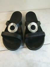 Crocs Sanrah Embellished Mini Wedge Black/Silver Slides Sandals Women's Size 7