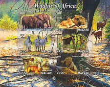 ** African Wildlife lion panther zebra elephant Malawi 11 mint MNH IMPERF  #D231