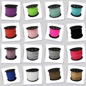 5 mètres de Cordon Suédine Multiples coloris 3 x 1.5 mm suede