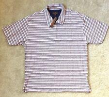 Oleg Cassini Size XL Polo Henley Zipper Striped Silk Cotton NEW