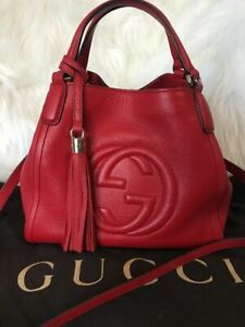 Authentic GUCCI Soho Red Large Leather Shoulder Bag Purse