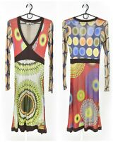 Womens Desigual Acetate Dress Multicolor Long Sleeve V-Neck Abstract Size XS