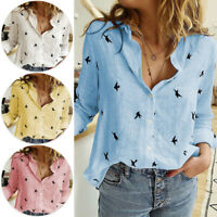 Women Button Tops Cotton Linen Long Sleeve T Shirt Lady Casual Loose Blouse