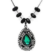 Vintage Style Emerald Green Teardrop Shape Pendant Choker Long Necklace N345