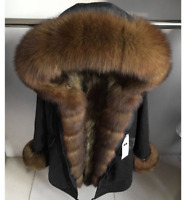Women's Real Fox Fur Parka Coat Hooded Removable Nyctereutes Raccoon Fur Lining