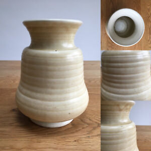 """Vintage George Clews pottery ribbed vase - 7.2"""" / 18cm"""
