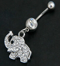 CUTE LITTLE ELEPHANT NAVEL BELLY BAR 316L STAINLESS STEEL CRYSTAL CLEAR