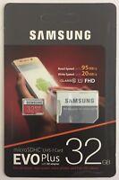 Samsung 32GB Micro SD Card SDHC EVO+ 95MB/s UHS-I Class 10 TF Memory Card NEW