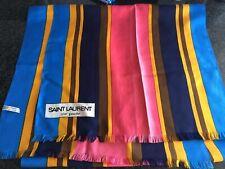 "YVES SAINT LAURANT RIVE GAUCHE VINTAGE Silk Printed Fringe Scarve 18""/68"""