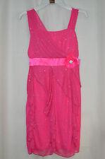 IZ Amy Byer Girls Overlay Drop Asymmetrical Ruffle Pink Sparkle Dress - Size 14