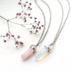 Pink Rose Quartz Crystal Bullet Stone Necklace-Vintage Silver- Jewellery-Healing