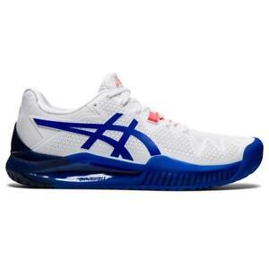 Asics Gel Resolution 8 Women's Tennis Shoe (White/Blue) Hard Courts /Auth Dealer