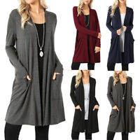 Women's Cardigan Duster Long Sweater Long Sleeve Coat Jacket Plus Size 5XL NEW