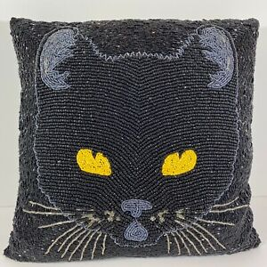 Pier 1 Black Beaded Black Cat Pillow Halloween Carnival Collection 14 x14
