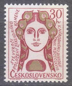 Czechoslovakia 1968 MNH Mi 1776 Sc 1526 Girl's Head. National Theater **