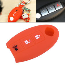 Red 3 Button Shell Silicone Remote Key Cover Fit For Nissan TIIDA Juke Murano